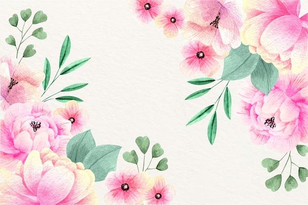 Diseño de papel tapiz floral acuarela