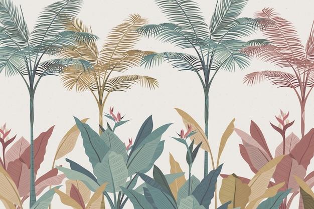 Diseño de papel tapiz mural tropical