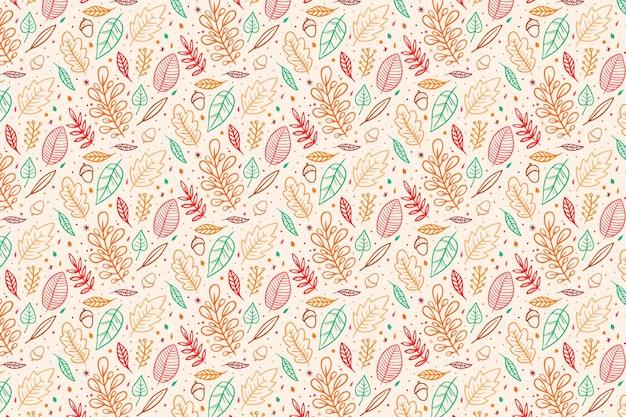 Diseño de papel tapiz de otoño dibujado