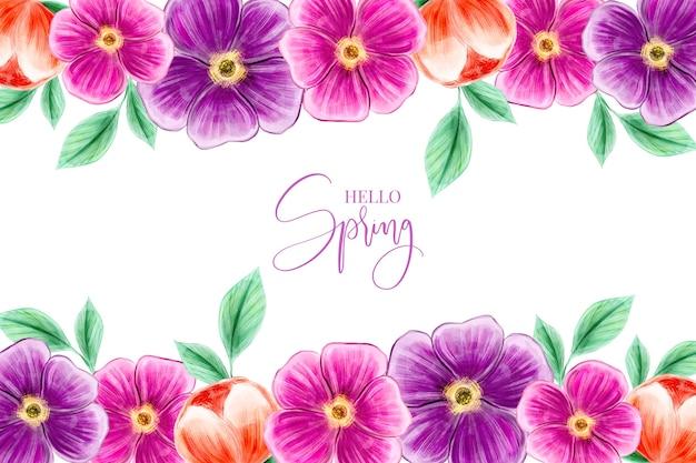 Diseño de papel tapiz de primavera acuarela