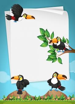 Diseño de papel con tucanes volando