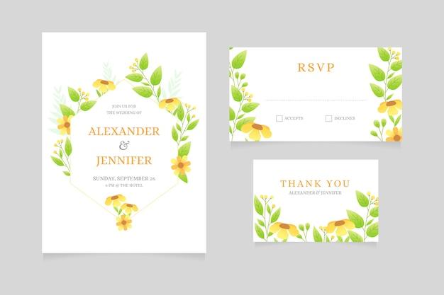 Diseño de papelería de boda con flores.
