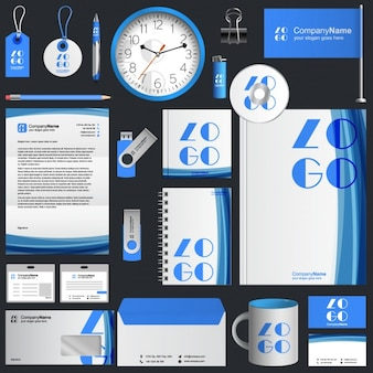 Diseño de papelería corporativa azul