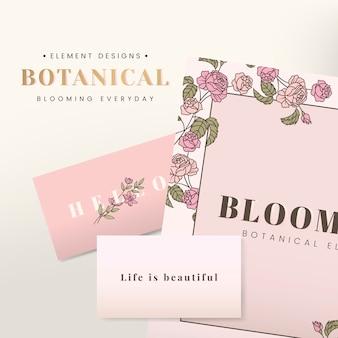 Diseño de papelería floral.