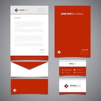 Diseño de papelería roja