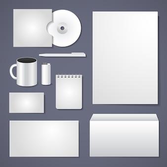 Diseño de papelería vectorial, plantilla de identidad corporativa vacía para diseño empresarial