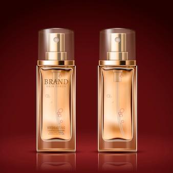 Diseño de paquete de botella de vidrio de perfume aislado sobre fondo escarlata, ilustración