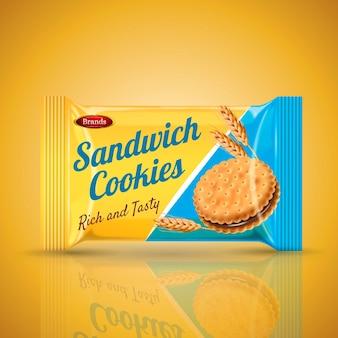 Diseño de paquete de galletas sándwich aislado fondo naranja ilustración 3d