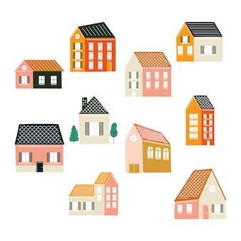 Diseño de paquete de iconos de casas, tema de construcción de bienes raíces de hogar ilustración vectorial
