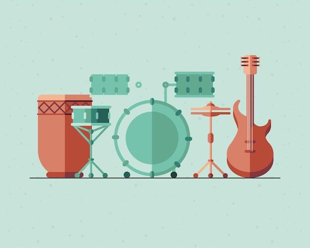 Diseño de paquete de iconos de instrumentos, melodía de sonido musical e ilustración de tema de canción