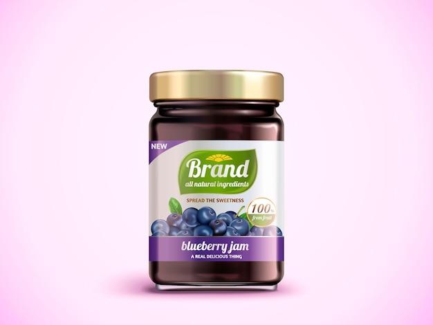 Diseño de paquete de mermelada de arándanos, maqueta de tarro de vidrio con etiqueta diseñada