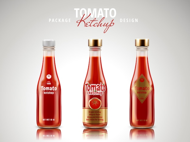 Diseño de paquete de salsa de tomate ketchup