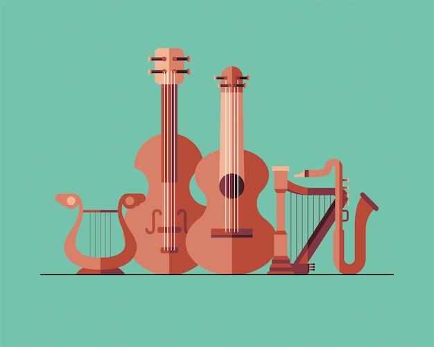 Diseño de paquete de símbolos de instrumentos, melodía de sonido de música e ilustración de tema de canción