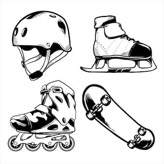 Diseño de paquete de skate en blanco y negro