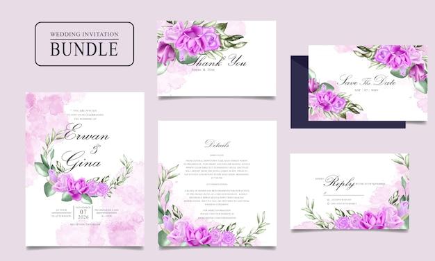 Diseño de paquete de tarjeta de invitación de boda con acuarela floral y plantilla de hojas