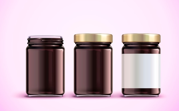 Diseño de paquete de tarro de mermelada, maqueta de tarro de vidrio con etiqueta en blanco