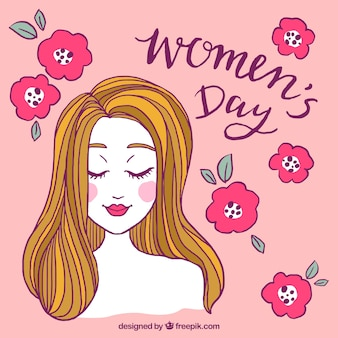 Diseño para el día de las mujeres con rosas y cara