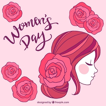 Diseño para el día de las mujeres con vista lateral de cara
