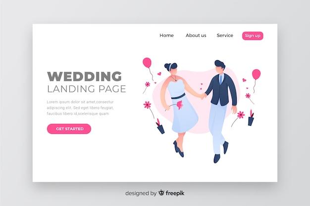 Diseño de pareja de página de aterrizaje de boda
