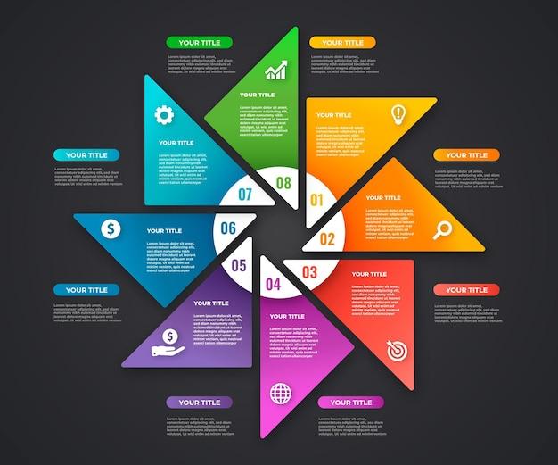 Diseño de pasos infográficos degradados