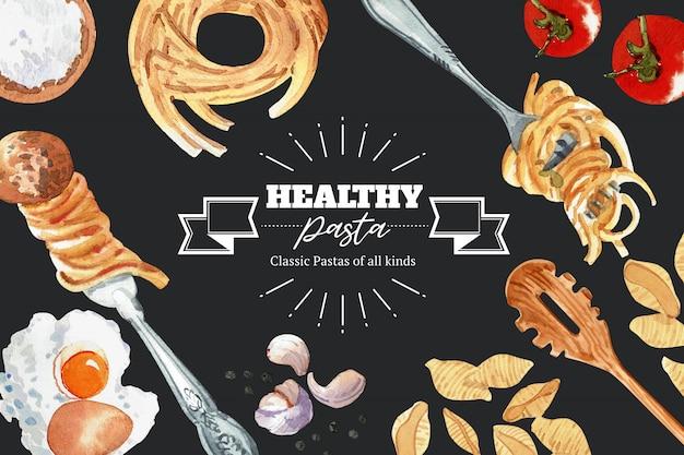 Diseño de pasta con harina, tenedor, ajo, huevo ilustración acuarela.