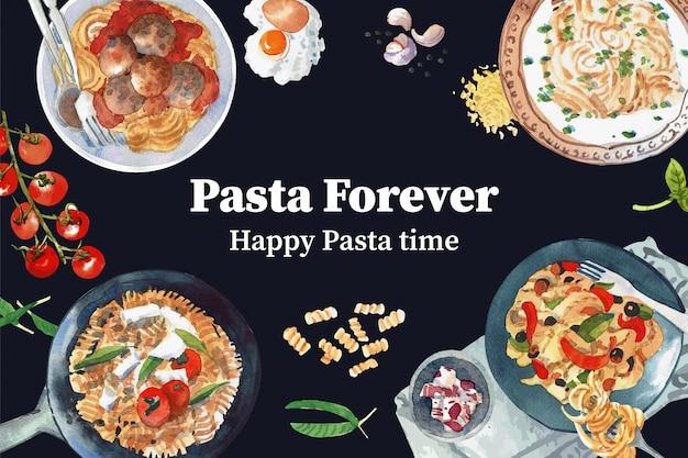 Diseño de pasta con varias pastas, ilustración acuarela de tomate.