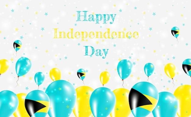 Diseño patriótico del día de la independencia de bahamas. globos en colores nacionales de las bahamas. tarjeta de felicitación feliz del vector del día de la independencia.