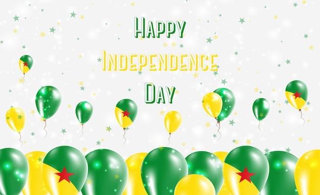 Diseño patriótico del día de la independencia de la guayana francesa. globos con los colores nacionales de la guayana francesa. tarjeta de felicitación feliz del vector del día de la independencia.