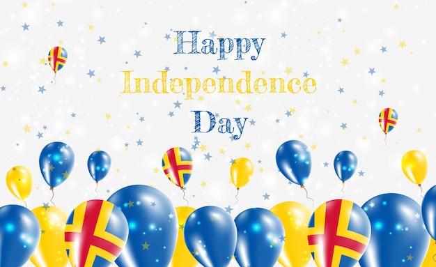 Diseño patriótico del día de la independencia de las islas aland. globos en colores nacionales suecos. tarjeta de felicitación feliz del vector del día de la independencia.
