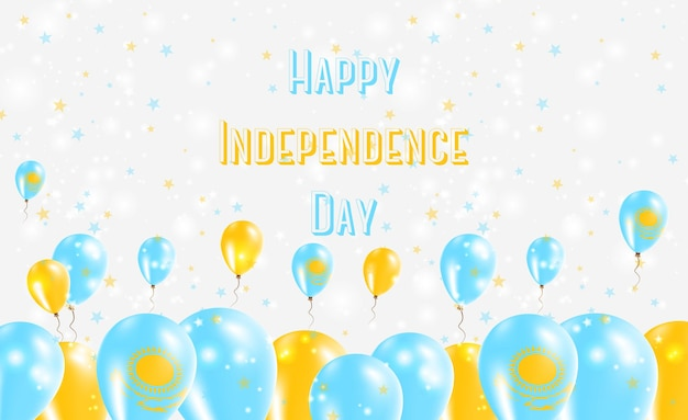 Diseño patriótico del día de la independencia de kazajstán. globos en colores nacionales de kazajstán. tarjeta de felicitación feliz del vector del día de la independencia.