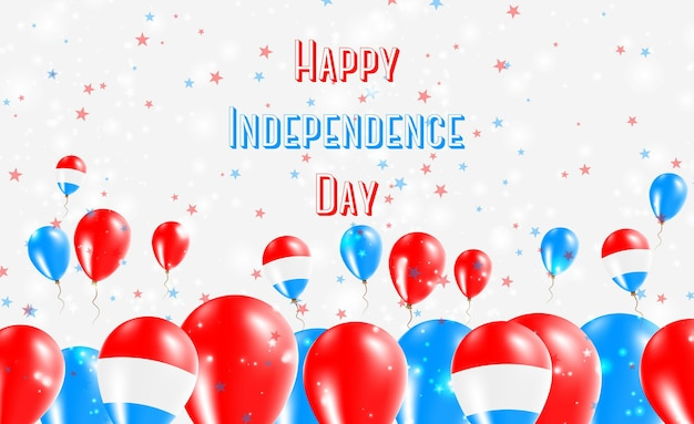 Diseño patriótico del día de la independencia de luxemburgo. globos en colores nacionales luxemburgueses. tarjeta de felicitación feliz del vector del día de la independencia.