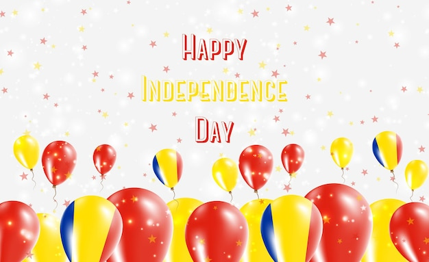 Diseño patriótico del día de la independencia de rumania. globos en colores nacionales rumanos. tarjeta de felicitación feliz del vector del día de la independencia.