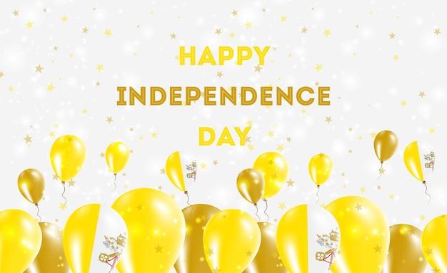 Diseño patriótico del día de la independencia de la santa sede (estado de la ciudad del vaticano). globos en colores nacionales italianos. tarjeta de felicitación feliz del vector del día de la independencia.