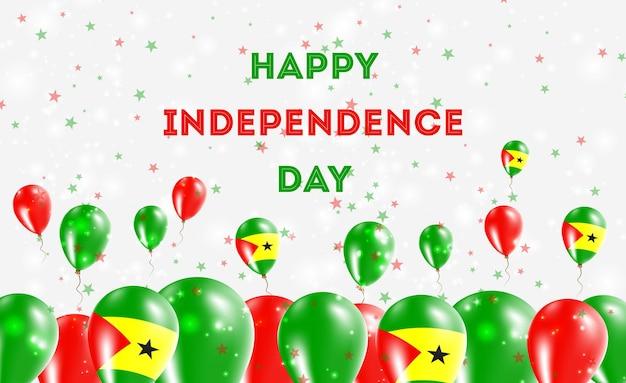 Diseño patriótico del día de la independencia de santo tomé y príncipe. globos en colores nacionales de santo tomé y príncipe. tarjeta de felicitación feliz del vector del día de la independencia.