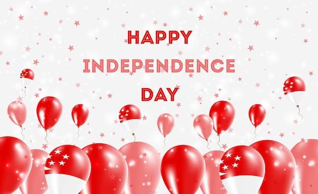 Diseño patriótico del día de la independencia de singapur. globos en colores nacionales de singapur. tarjeta de felicitación feliz del vector del día de la independencia.