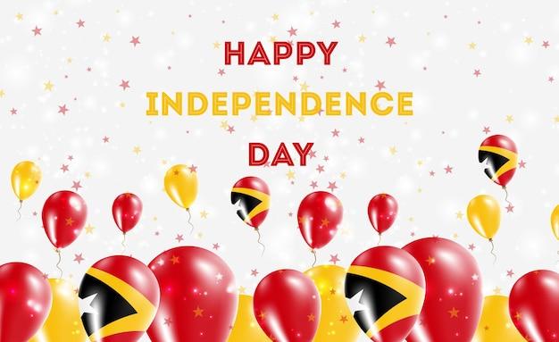 Diseño patriótico del día de la independencia de timor leste. globos en colores nacionales de timor oriental. tarjeta de felicitación feliz del vector del día de la independencia.