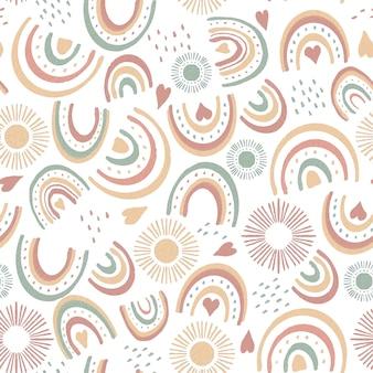 Diseño de patrón de arco iris de acuarela pintado a mano