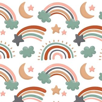 Diseño de patrón de arco iris dibujado a mano