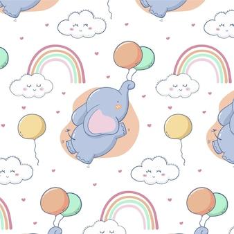 Diseño de patrón de arco iris dibujado a mano vector gratuito