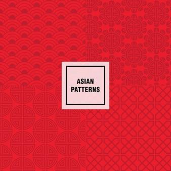 Diseño de patrón asiático rojo