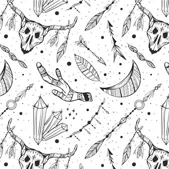 Diseño de patrón boho dibujado a mano grabado