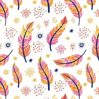 Diseño de patrón boho dibujado a mano