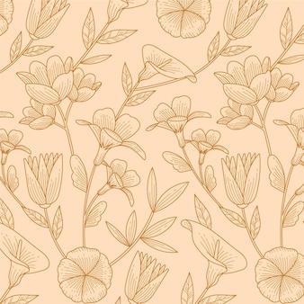 Diseño de patrón botánico dibujado a mano grabado
