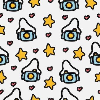 Diseño de patrón de cámara de doodle de dibujos animados