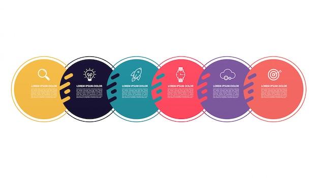 Diseño de patrón de círculos de infografía con estructura de 6 pasos. diagramas de plantilla, presentación y gráfico, líneas de gráfico circular, concepto de negocio.
