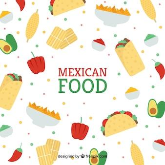 Diseño de patrón de comida mexicana