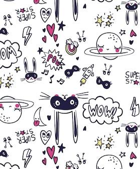 Diseño de patrón de conejo lindo para la impresión de la camiseta