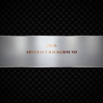 Diseño de patrón de cuadrados geométricos de lujo abstracto negro sobre fondo oscuro
