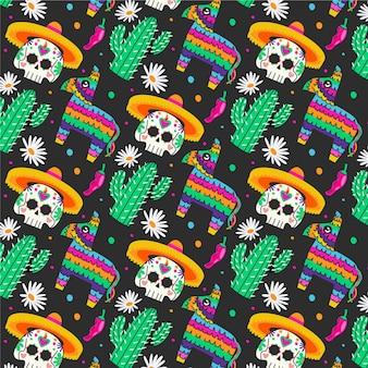 Diseño de patrón de dia de muertos dibujado a mano