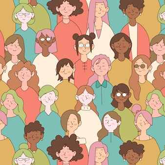 Diseño para el patrón del día de la mujer con caras de mujeres